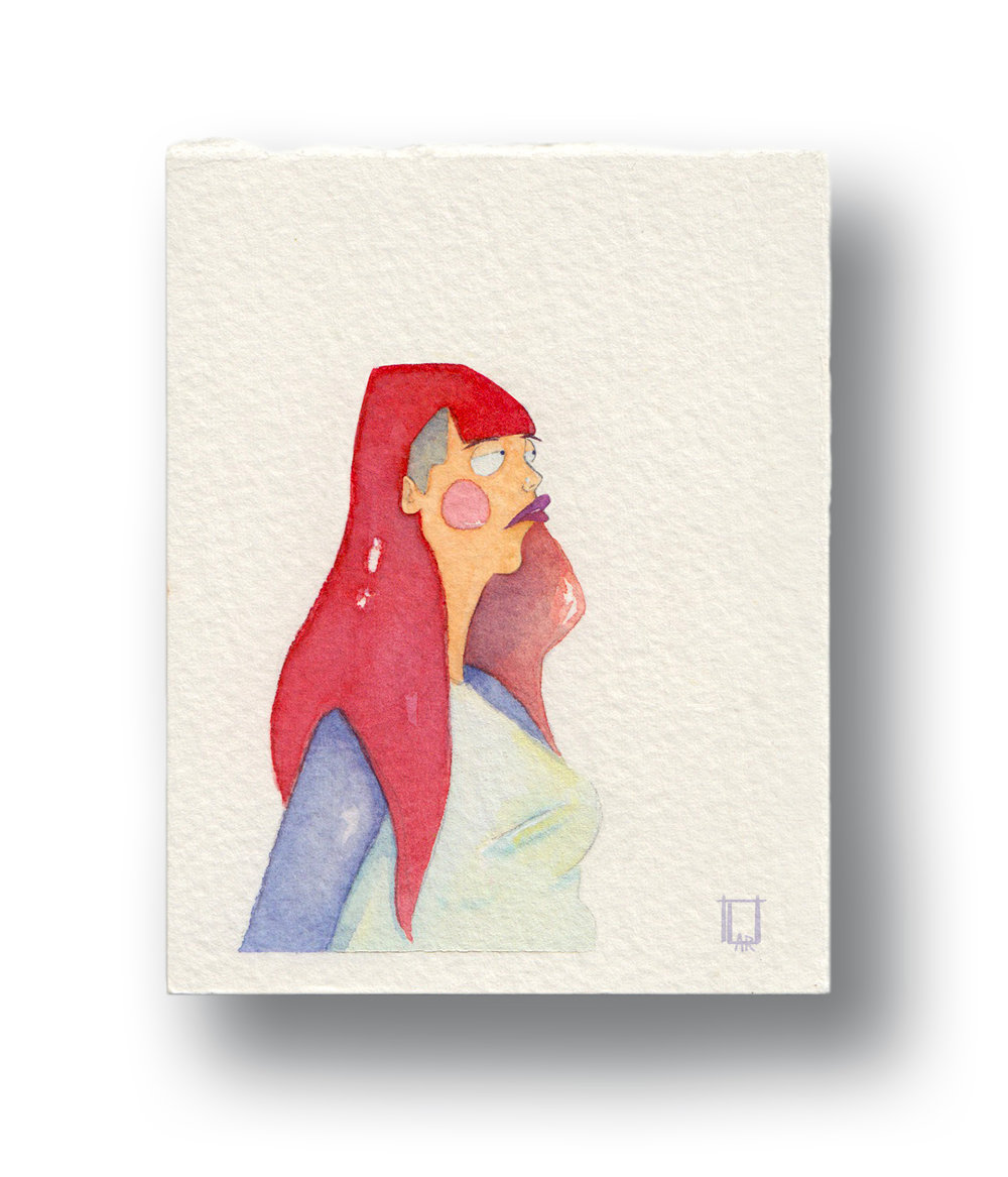 "Punk Girl  Gouache & Watercolor 3 x 4"""