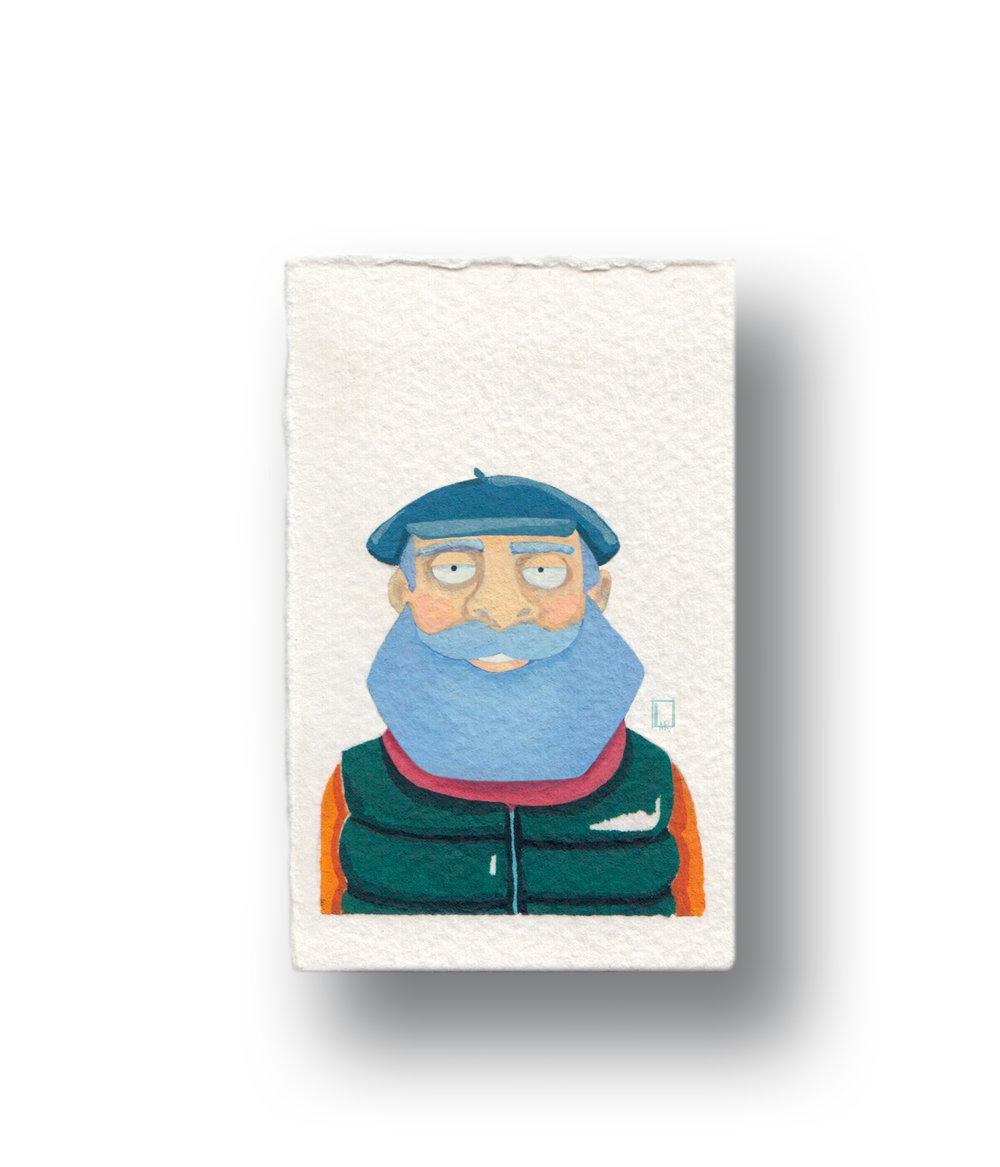 """sailor Man  Gouache & Watercolor  1.5 x 2.5"""""""
