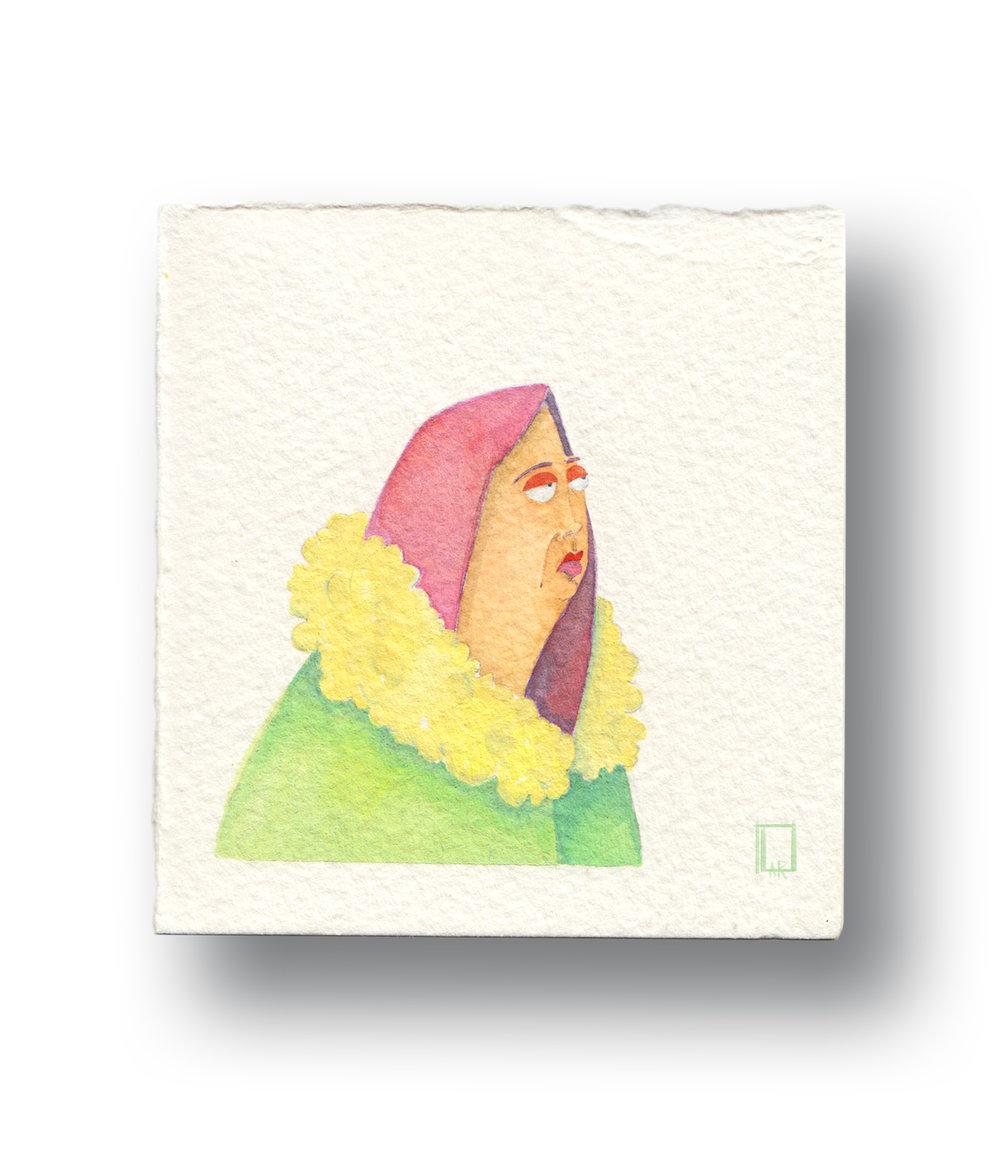 """Russian Woman in a Coat  Gouache & Watercolor  4 x 4"""""""