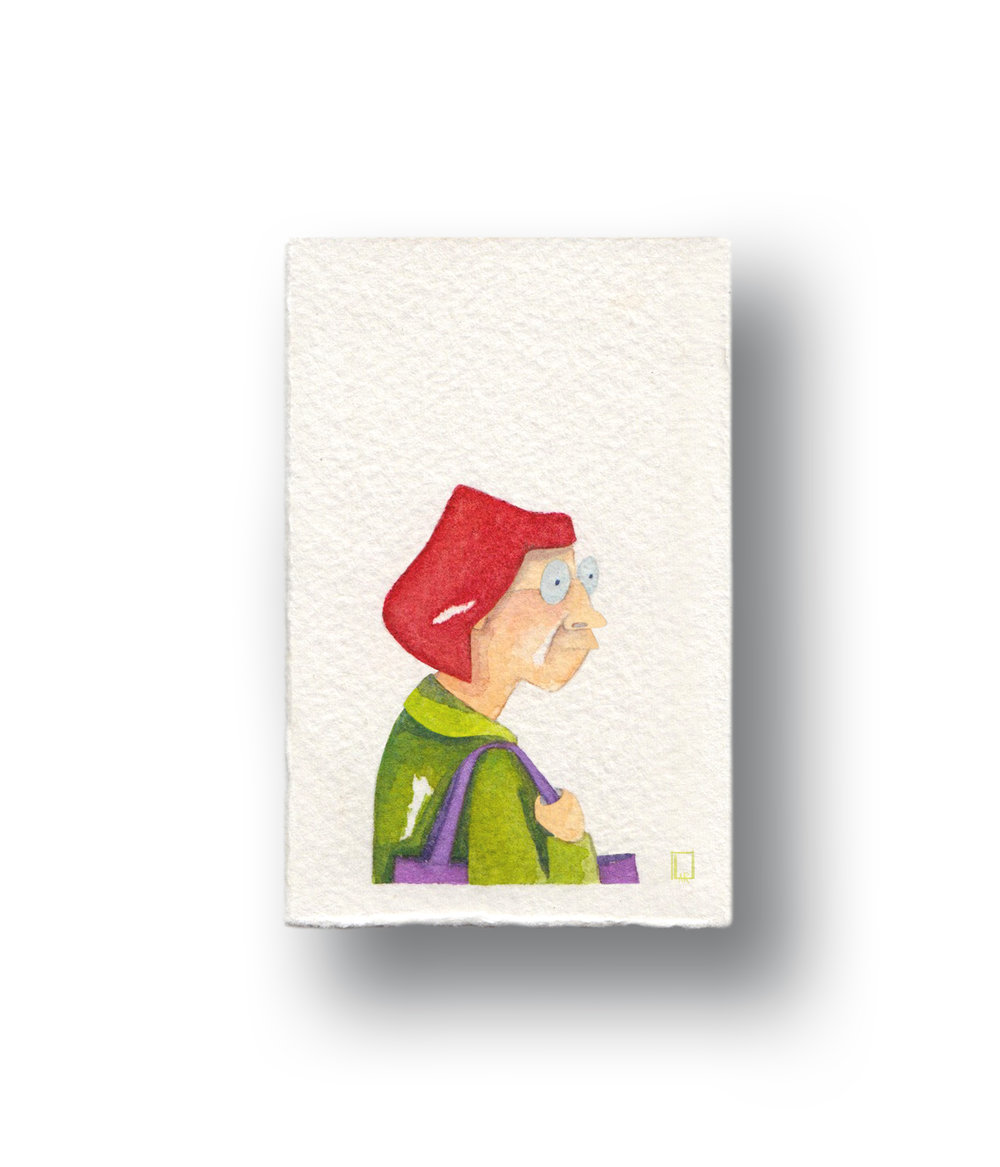"""Lady waiting for her Starbucks  Gouache & Watercolor  1.5 x 2"""""""