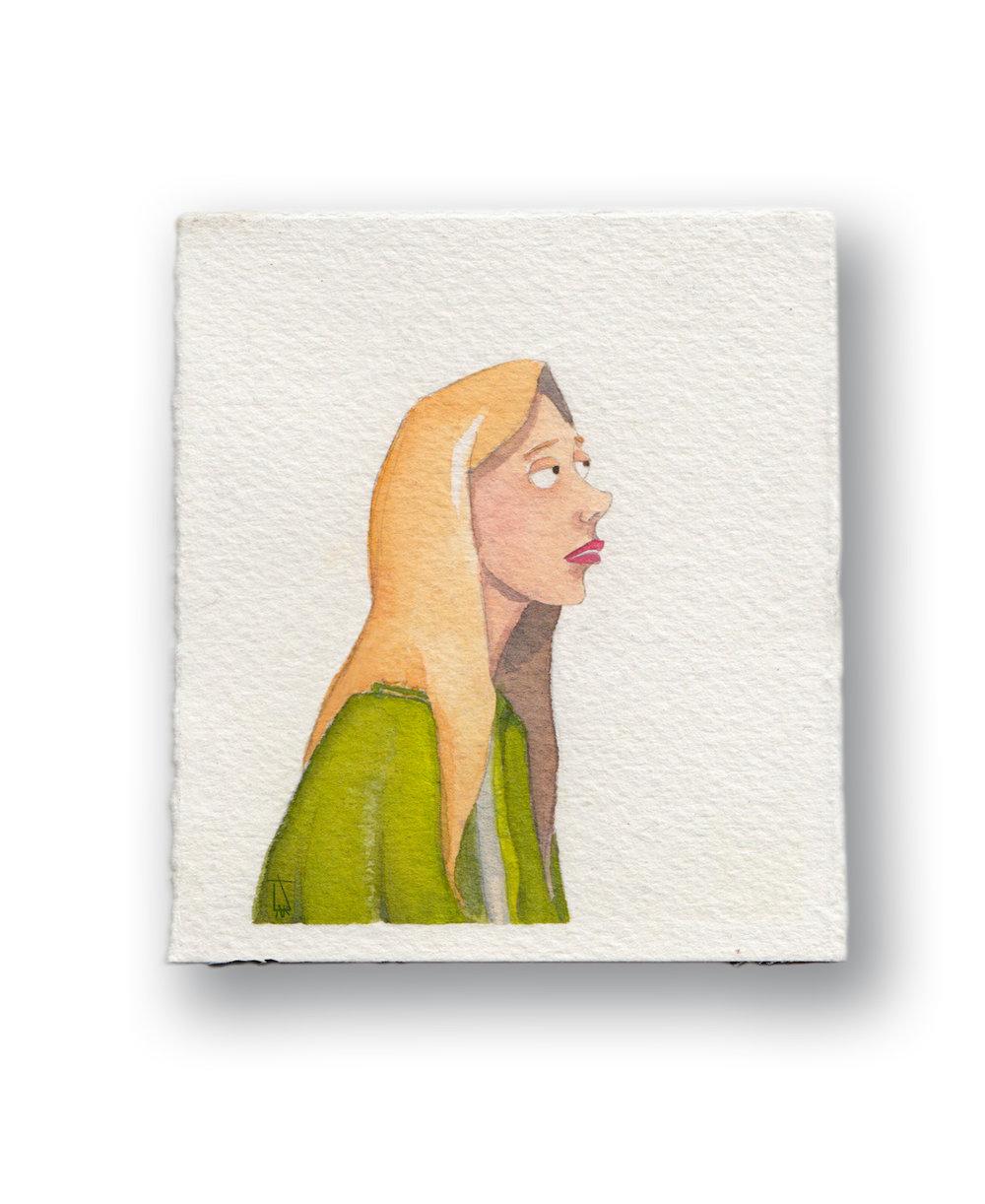 "German Girl  Gouache & Watercolor  3 x 3.5"""
