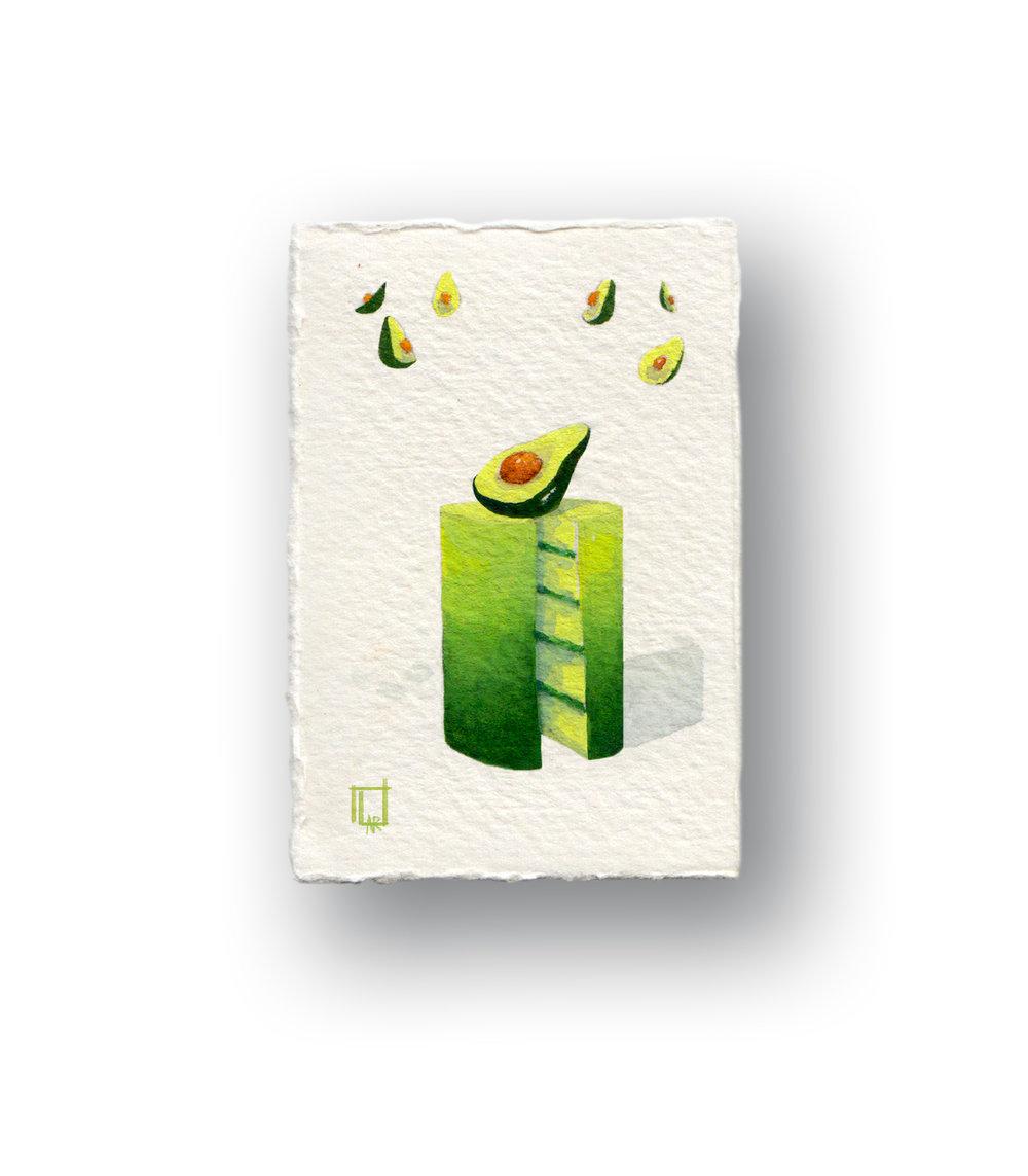 """Avocado Cake (Really Small)  gouache 1.5 x 2.5"""""""