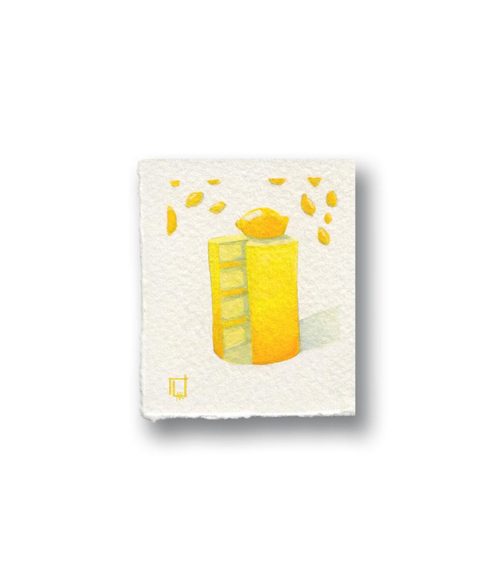 """Lemon Cake (extra smol)  Gouache 1.2 x 2.5"""""""