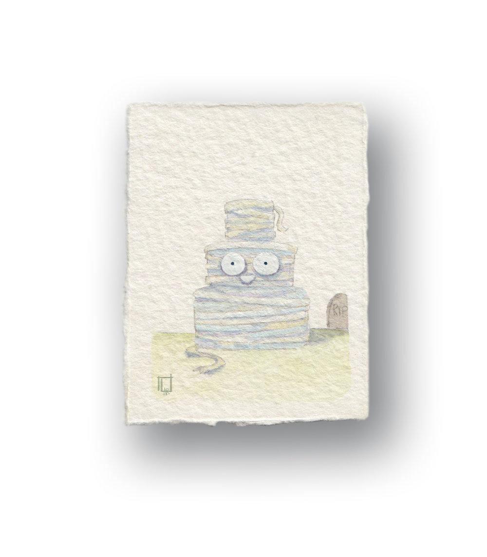 "Mummy Cake (he's alive!)  Gouahce 1.5 x 2.5"" (smol)"