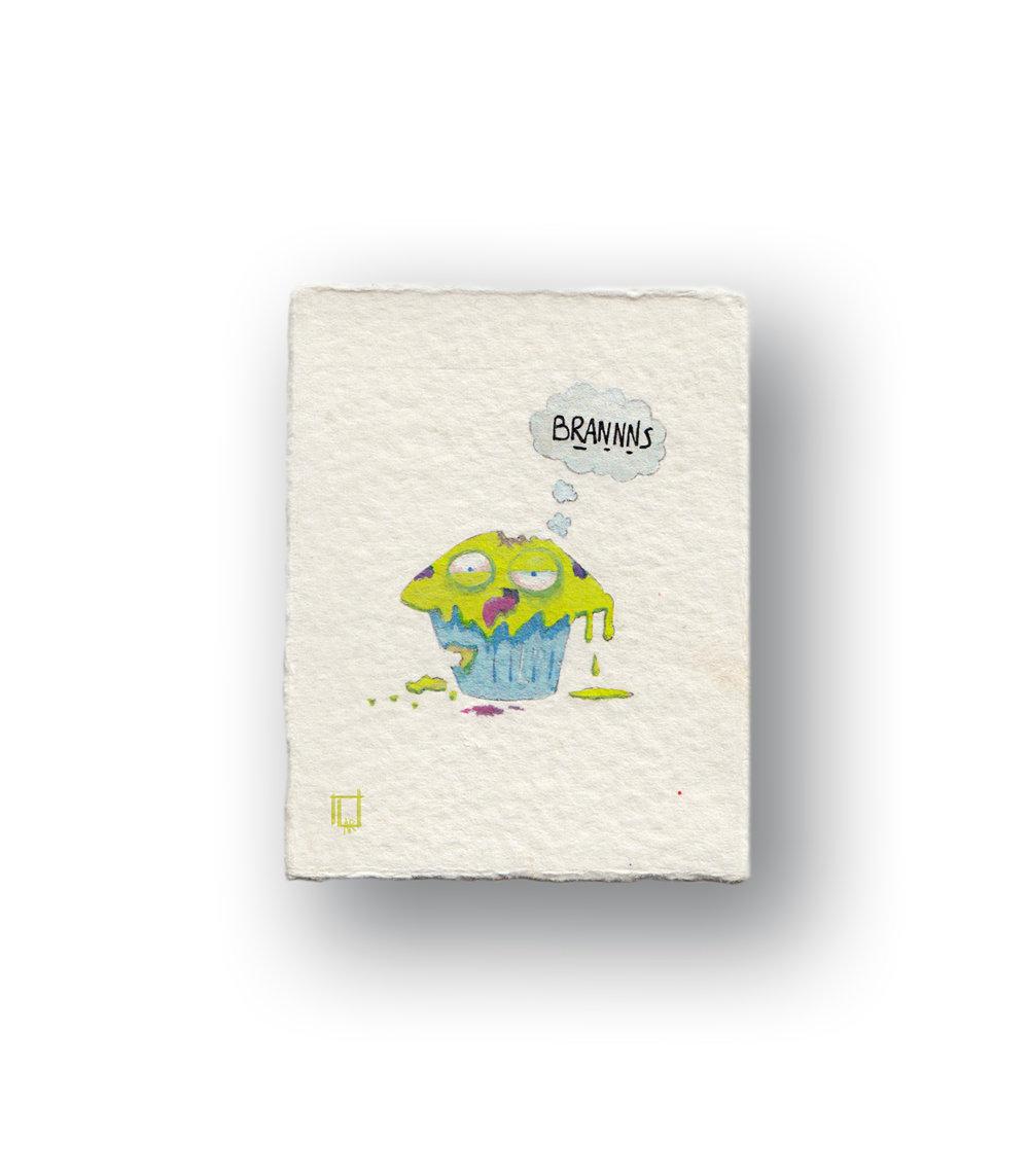 """Zombie Muffin (SUper SMOL, and alive)  Gouache 2 x 2.5 """""""