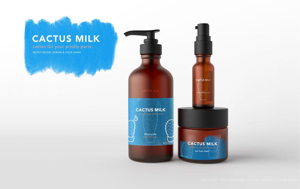 Cactus Milk -  Lotion - Face Serum - Gel Mask   Product Design - Photoshop