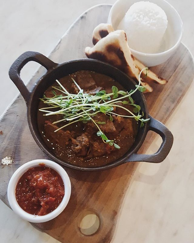 Our famous Goan beef curry served with naan bread baked daily and served with white rice. One of the dishes offered on our Portuguese Nights menu. #portuguesedish #mooloolaba #mooloolababeach #mooloolabafood