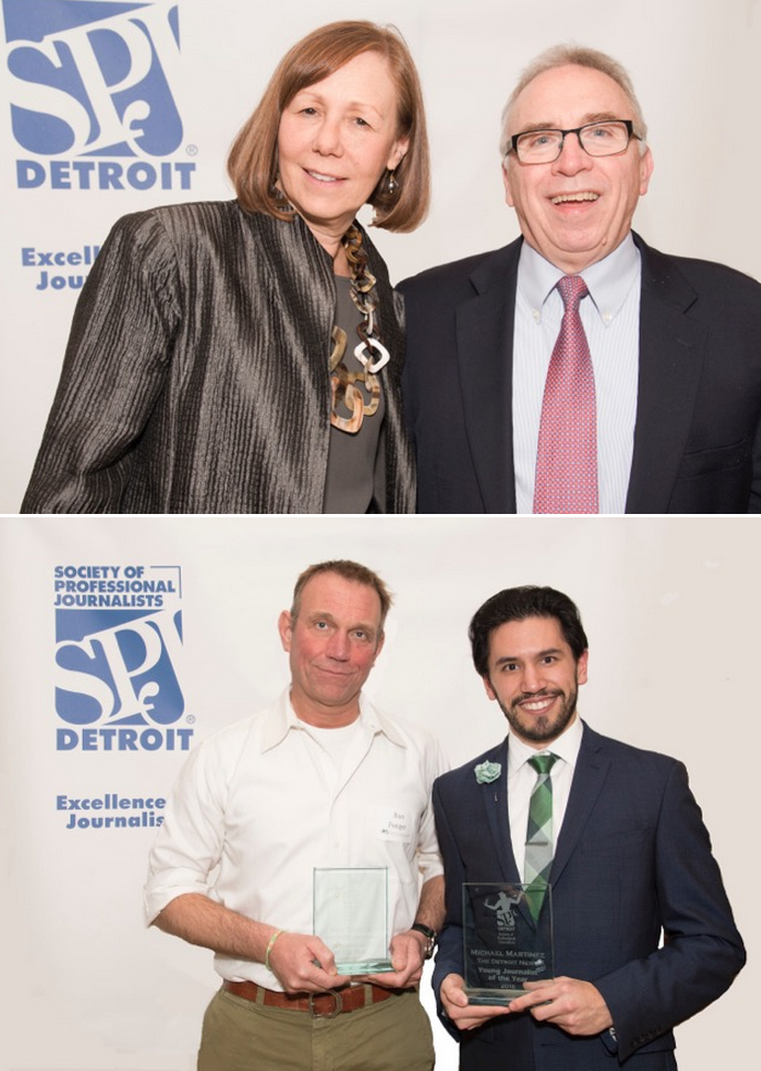 Above--   Ron Fonger of The Flint Journal named Journalist of the Year and Michael Martinez of The Detroit  News named Young Journalist of the Year Tuesday night by the Detroit Chapter, Society of  Professional Journalists.