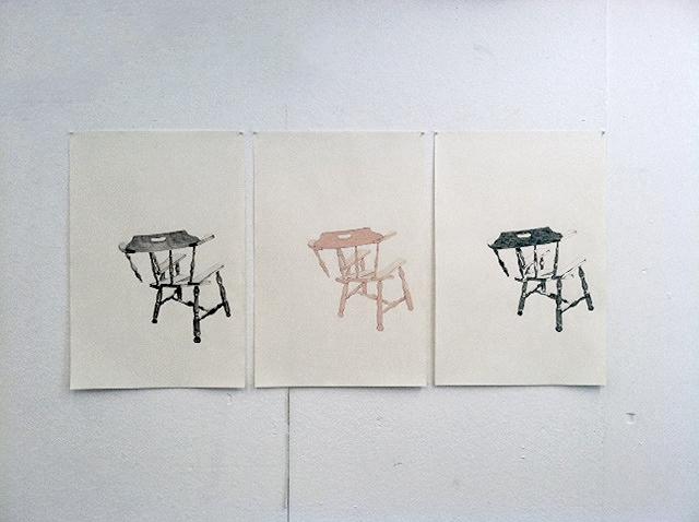 Broken Chairs , 2015.Graphite, pastel, ink (series of three 24x36).