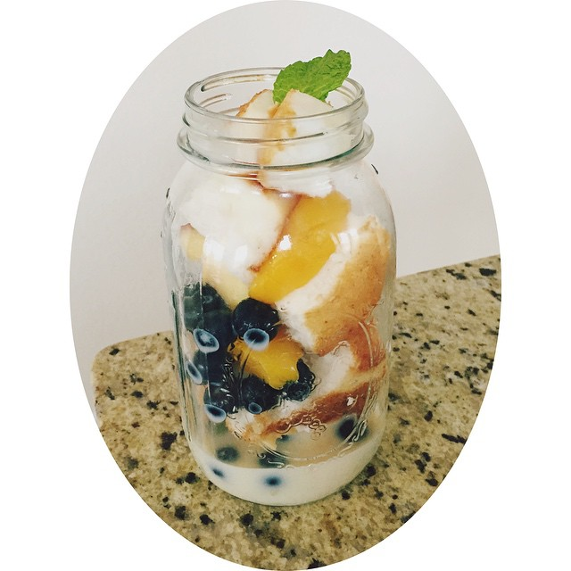 Angel food cake parfait dessert for my mother made by yours truly...