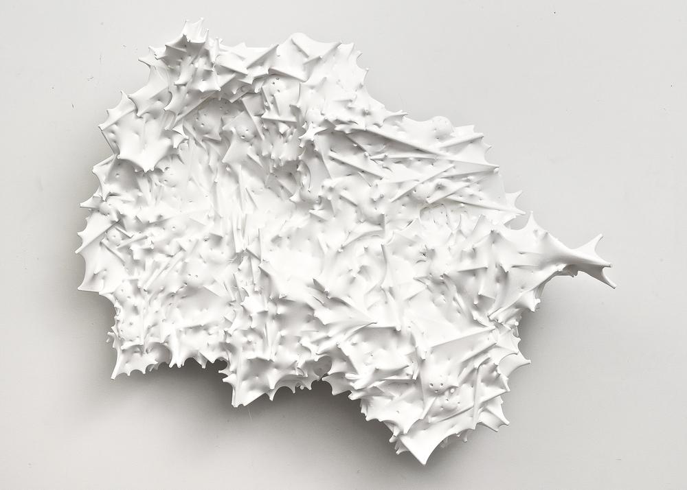 Untitled (peaky), 2014 silk, acrylic, wood, thread plastic, and epoxy 23 x 34 x 11 inches 58.4 x 86.4 x 27.9 cm