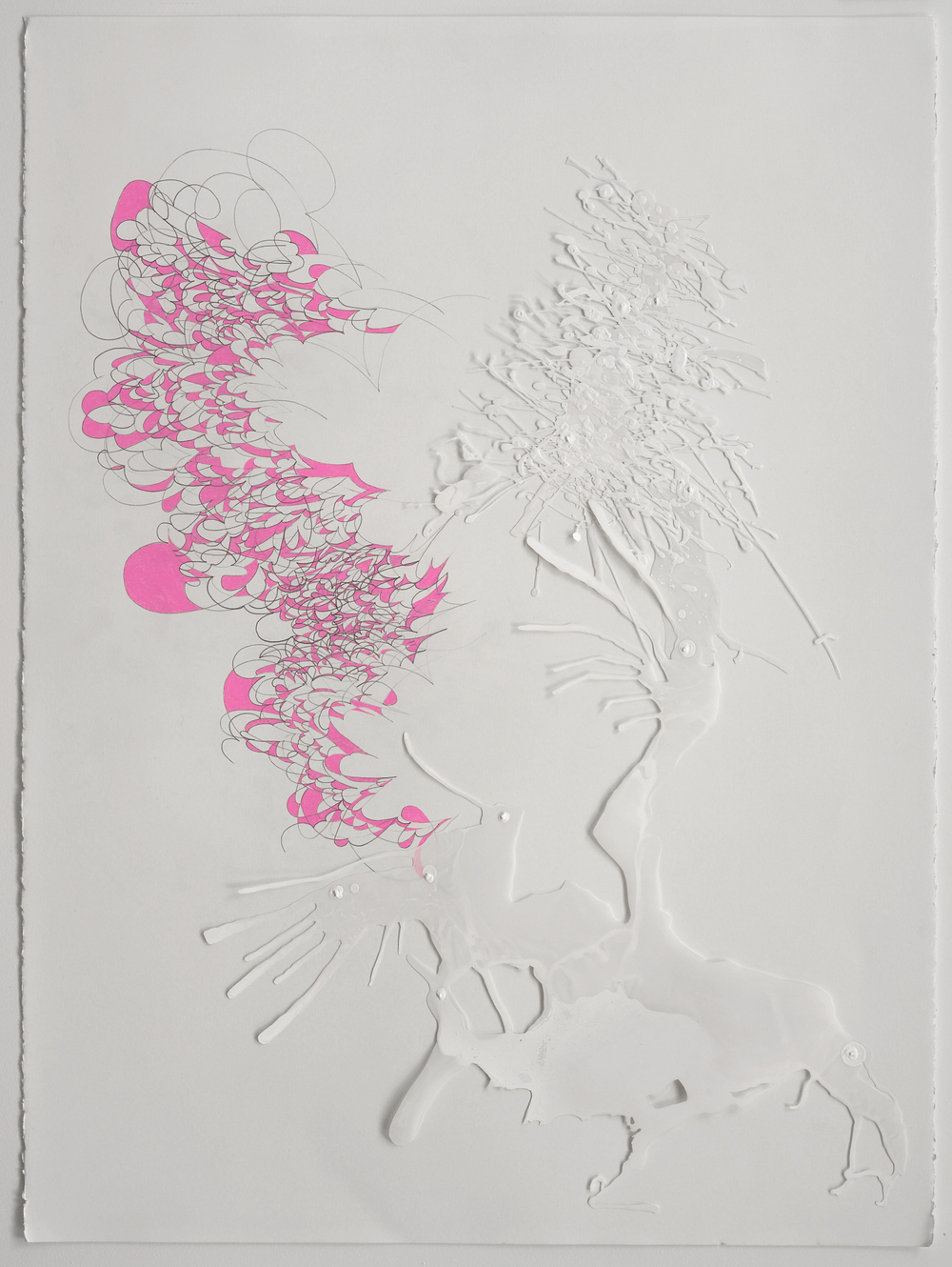 S wirling Pink,  2008  Acrylic on mylar and string, pencil and pen on paper  30 x 22 inches