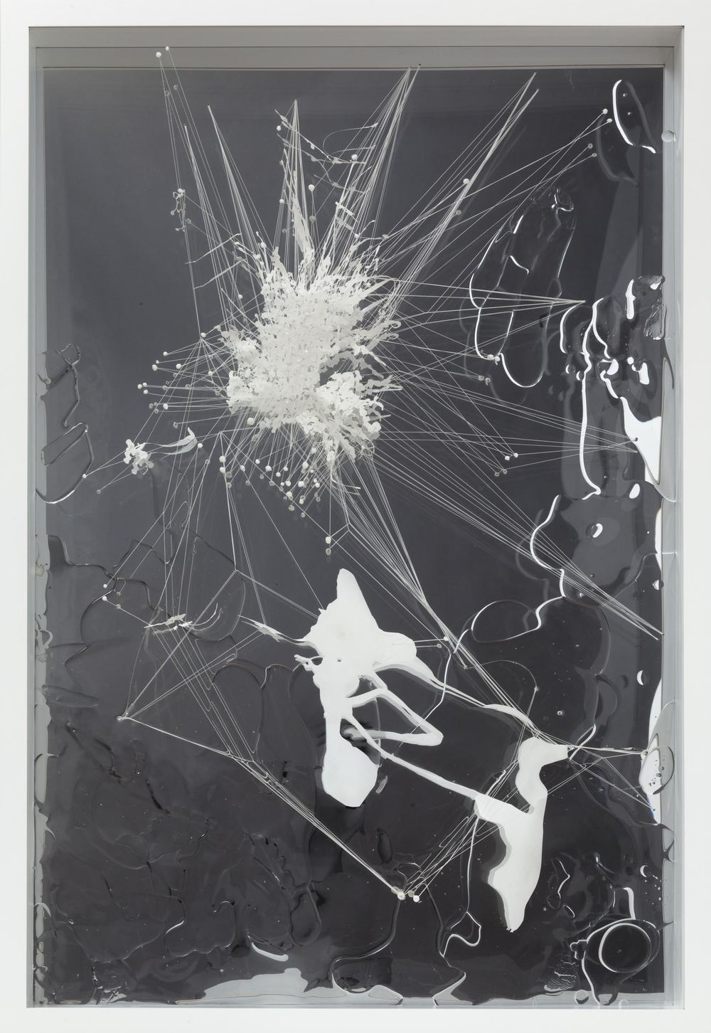 Stuck, 2010  Acrylic, mylar, thread, plexi-glass  50 x 34 inches