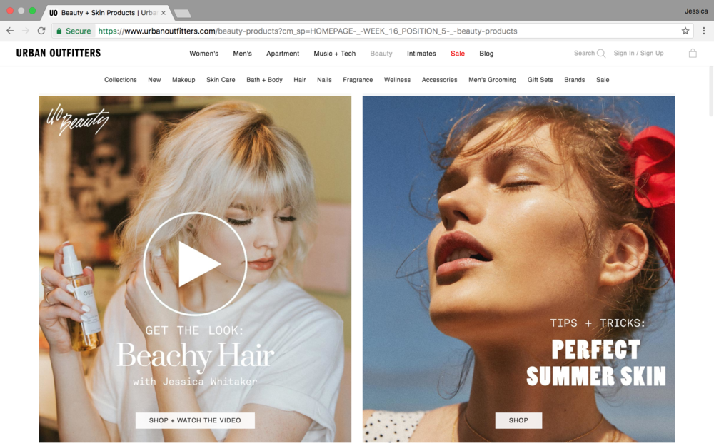 Paid Sponsorship in April 2017 with Urban Outfitters. Featured on the Beauty homepage for over 2 weeks.