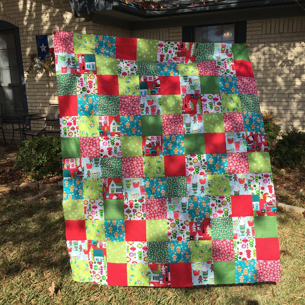 Last year's Christmas quilt top.