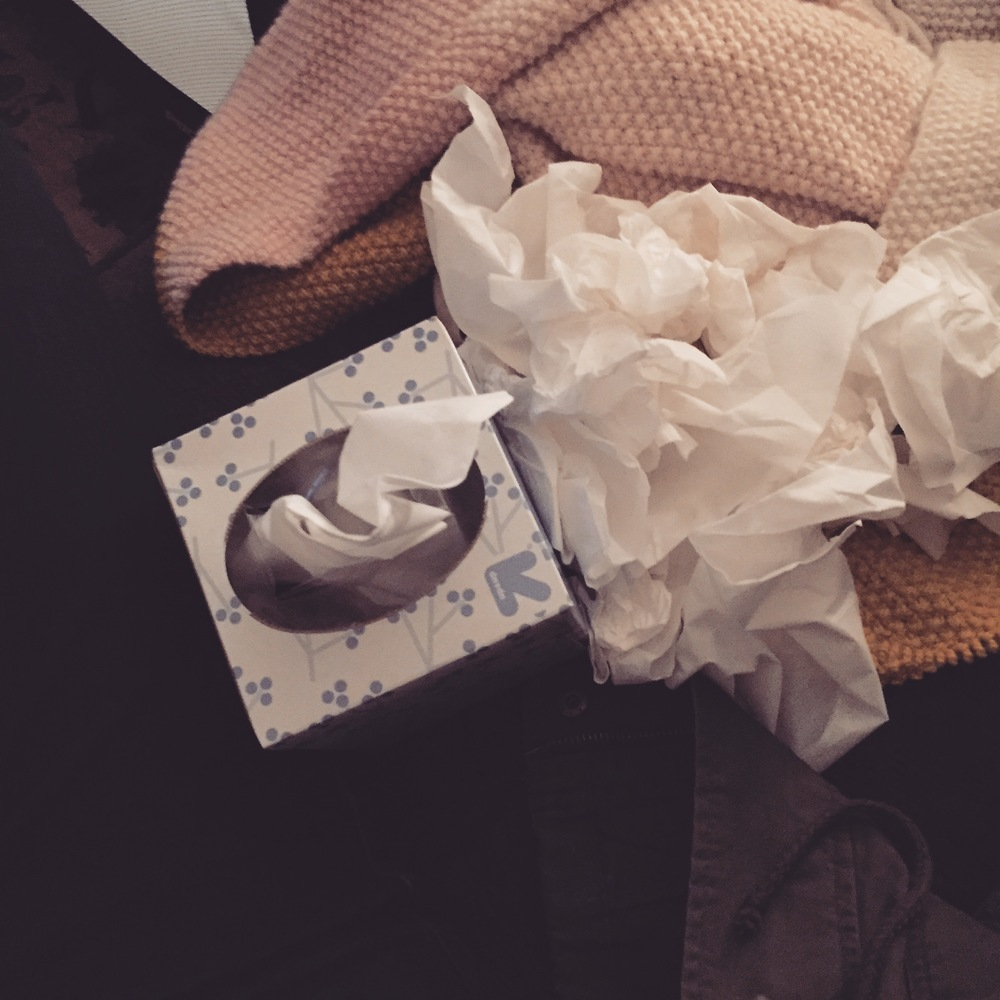 September 27, 2015- the night I finished Gilmore Girls; wrap and tissues present