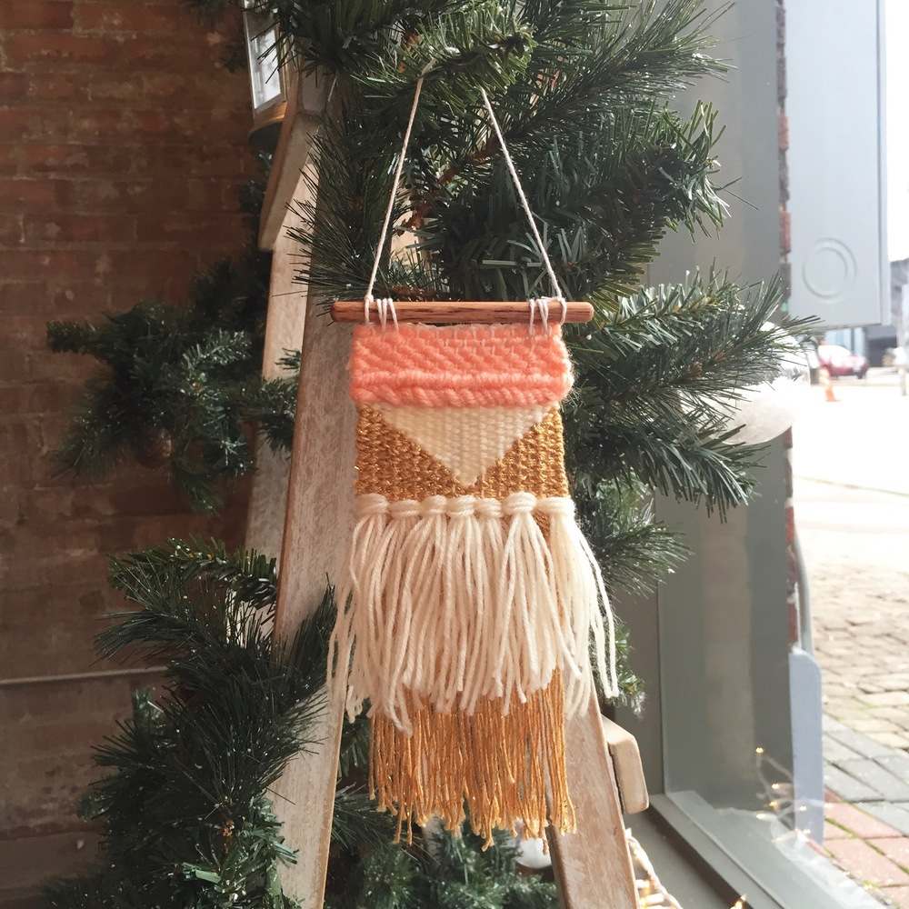 My weaving, looking super cute on the Christmas decorations at Akola Project.