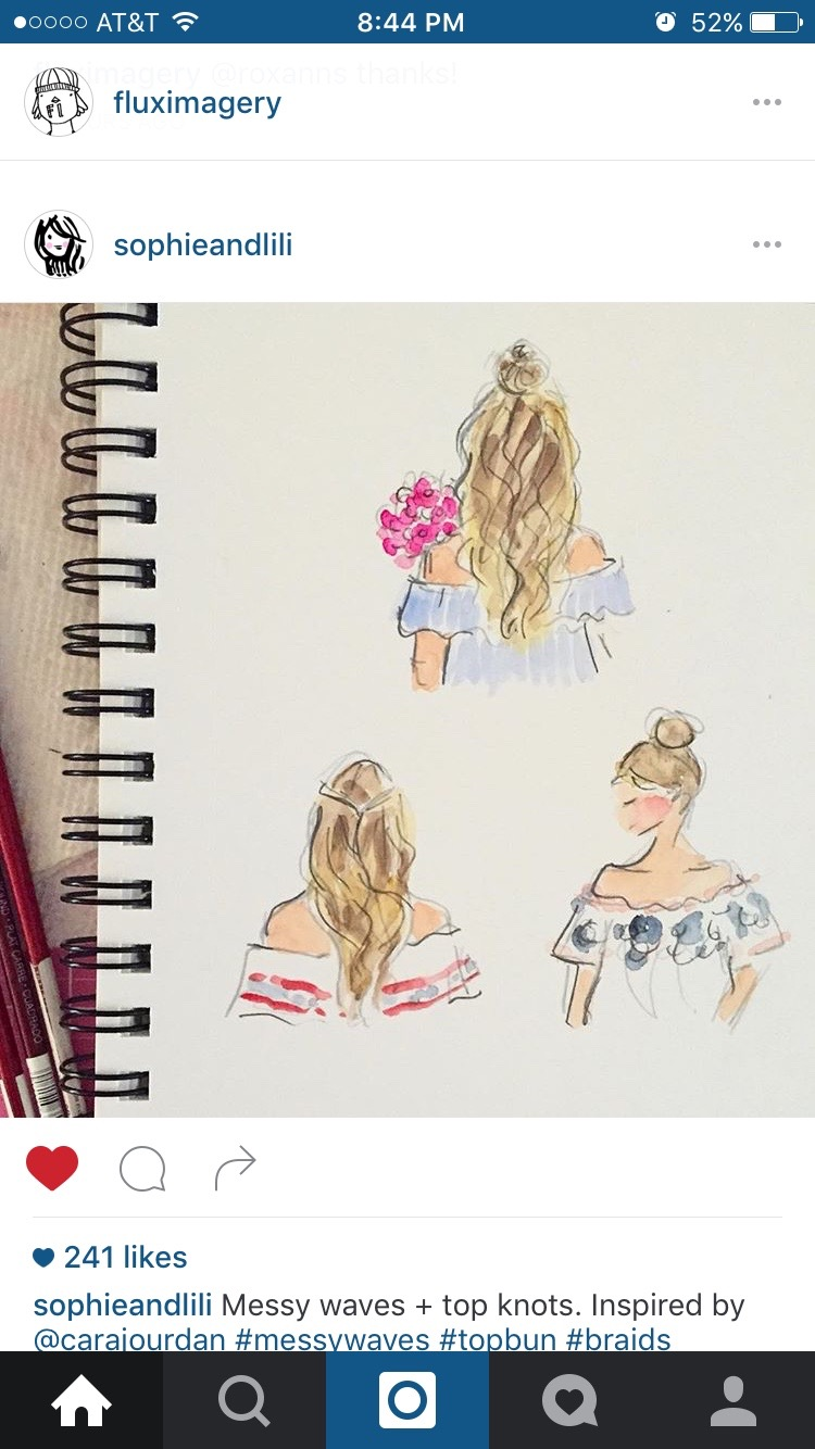Messy waves and top knots illustration by Jennifer Vallez