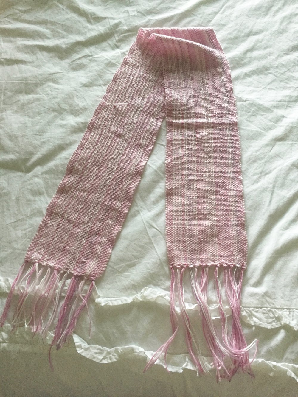 my (mostly) finished scarf! I still need to wet finish it and trim up my stray ends and fringe.