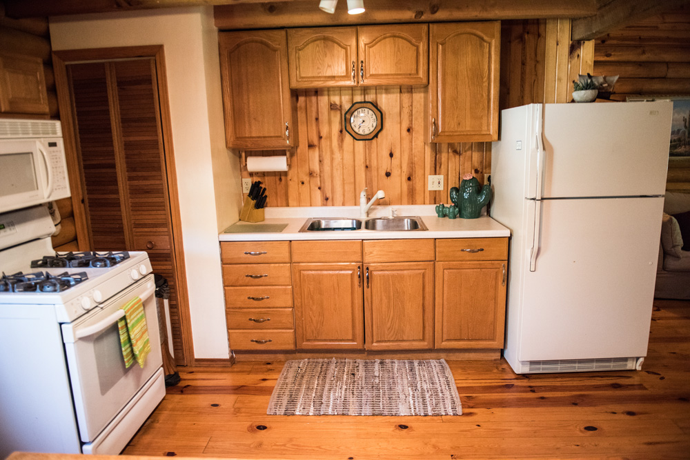 Full kitchen with a gas stove, microwave, full refrigerator and much more!