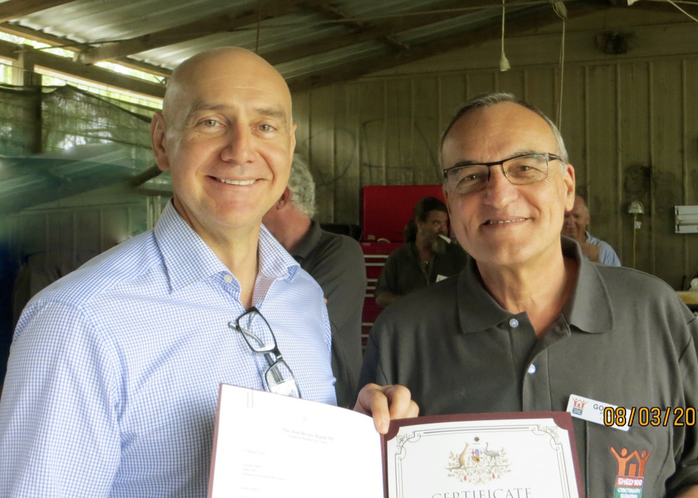 Presentation of Volunteer Award Certificate by The Hon Bernie Ripoll MP to Gordon Plant