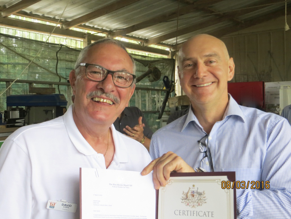 Presentation of Volunteer Award Certificate by The Hon Bernie Ripoll MP to David Cope