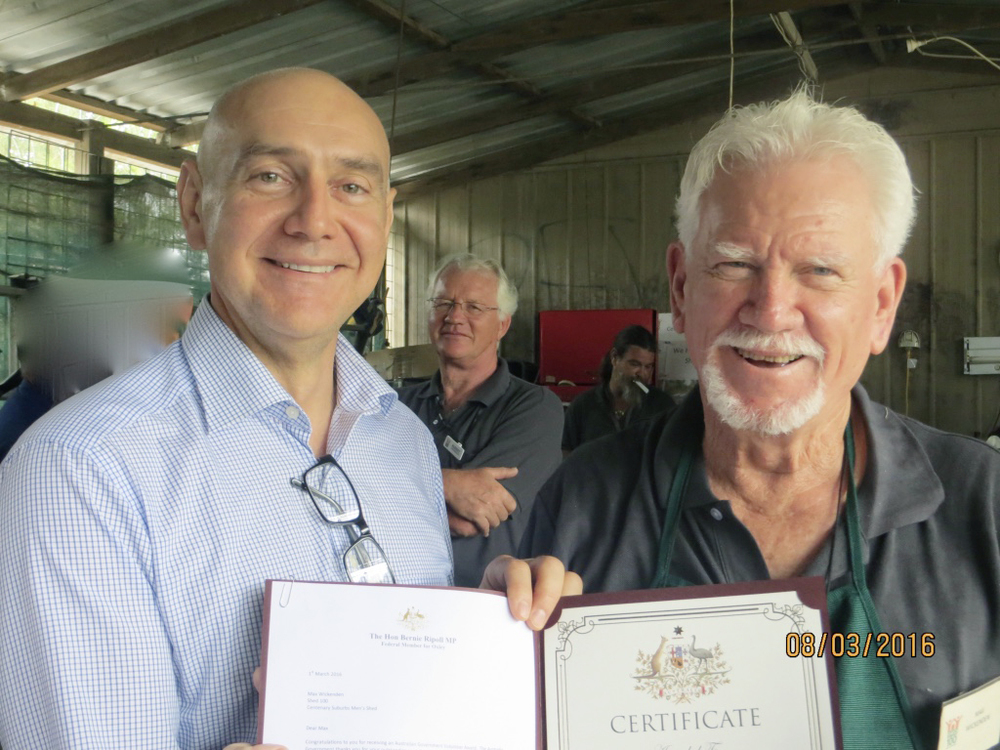 Presentation of Volunteer Award Certificate by The Hon Bernie Ripoll MP to Max Wickenden