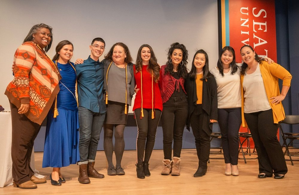 L-R Carol Cochran, Tiffany Carpenter, Cesar Rios III, Paula Lustbader, Mariajesus Elgueta, Chhavi Mehra, Yue Zhang, Chloe Zabrek, and Stephanie Sanchez.