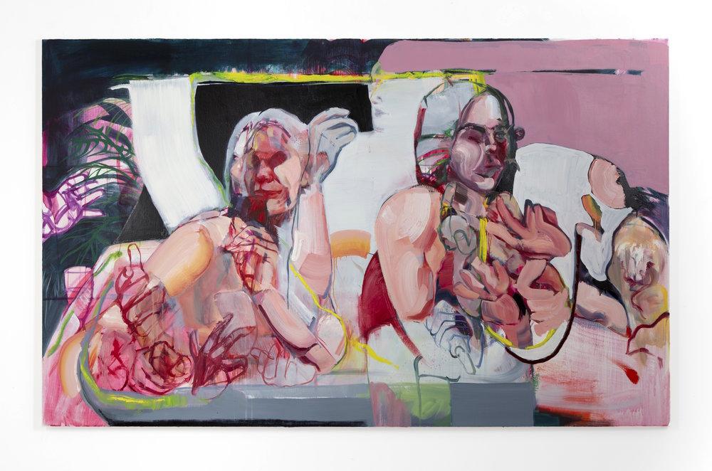 LA Hot Tub,  oil and acrylic on canvas, 84'' x 52'', 2019