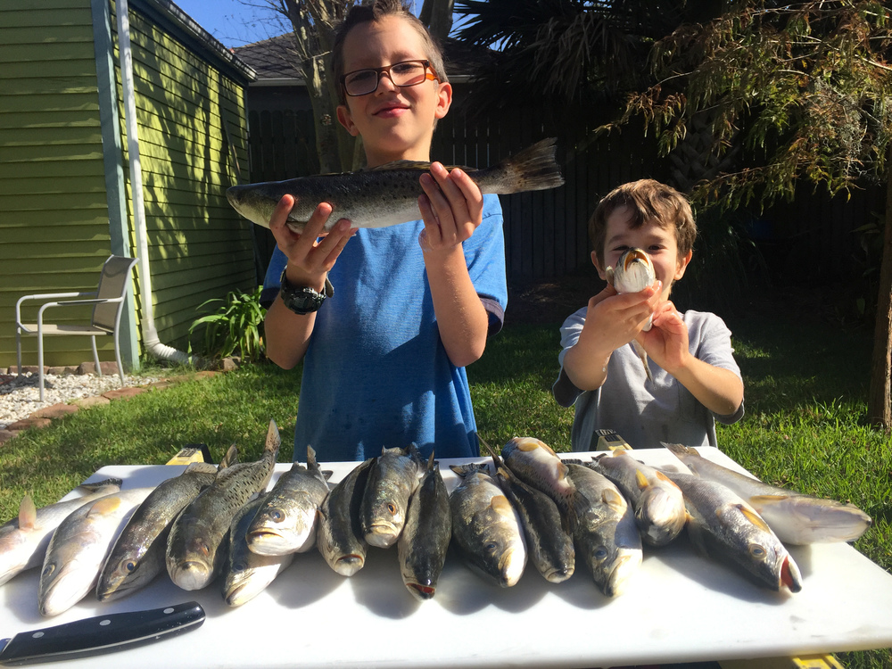 Nephews with part of the haul from the first trip.