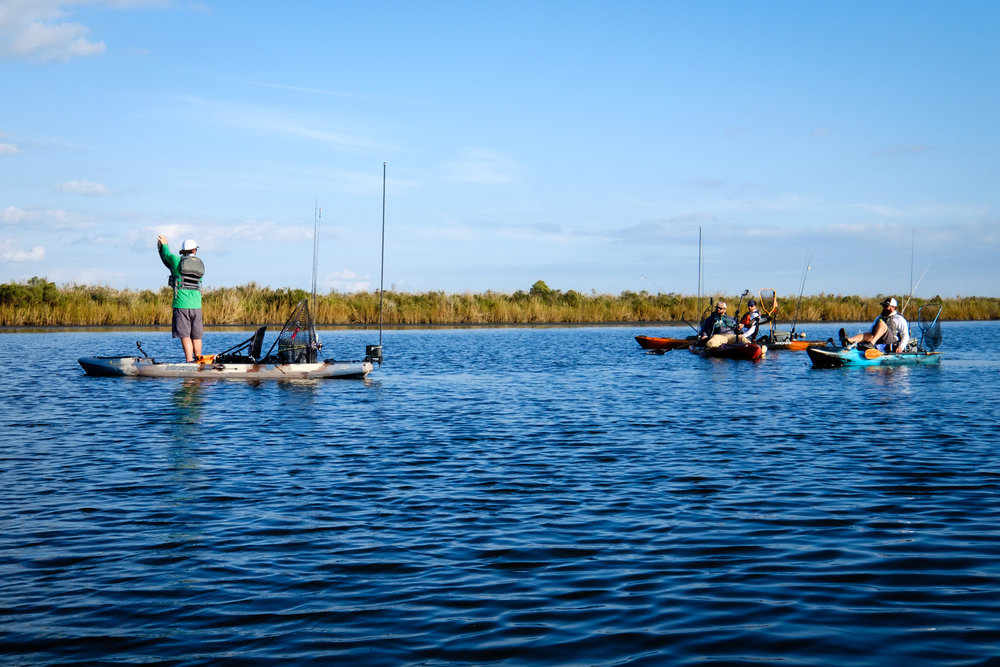 Kayak Fishing rarity - Robert Field, Gene Jensen, Brooks Beatty and Jameson Redding all in the same shot