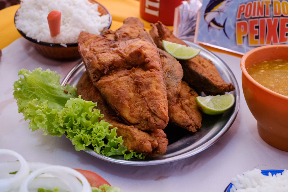 Our traditional first stop on all our trips to Rio De Janeiro is the Point do Peixe restaurant. They serve up some killer fried and stewed fish, in this case Mahi Mahi.