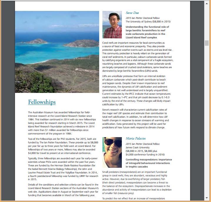 Lizard Island Fellowship recipients (2014)  - Lizard Island Research Station annual report (pg 6)