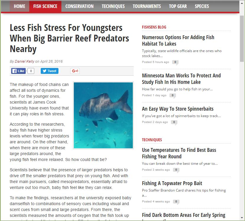 Less fish stress for youngsters when big bariier reef predators nearby (2016)  - Fishens.com
