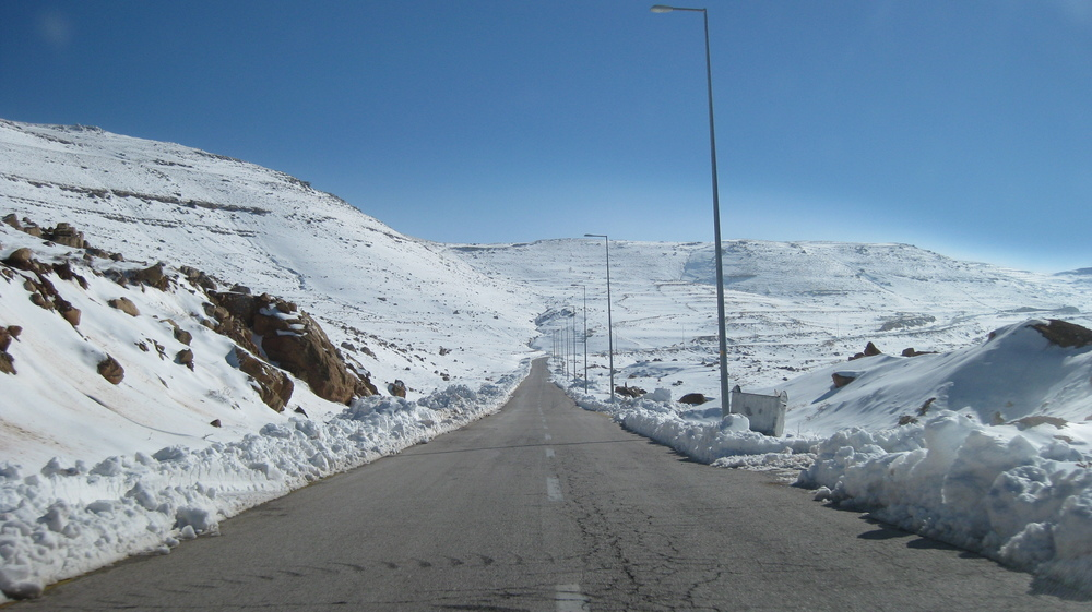 serious snow on the mountains in the roads in and out of petra