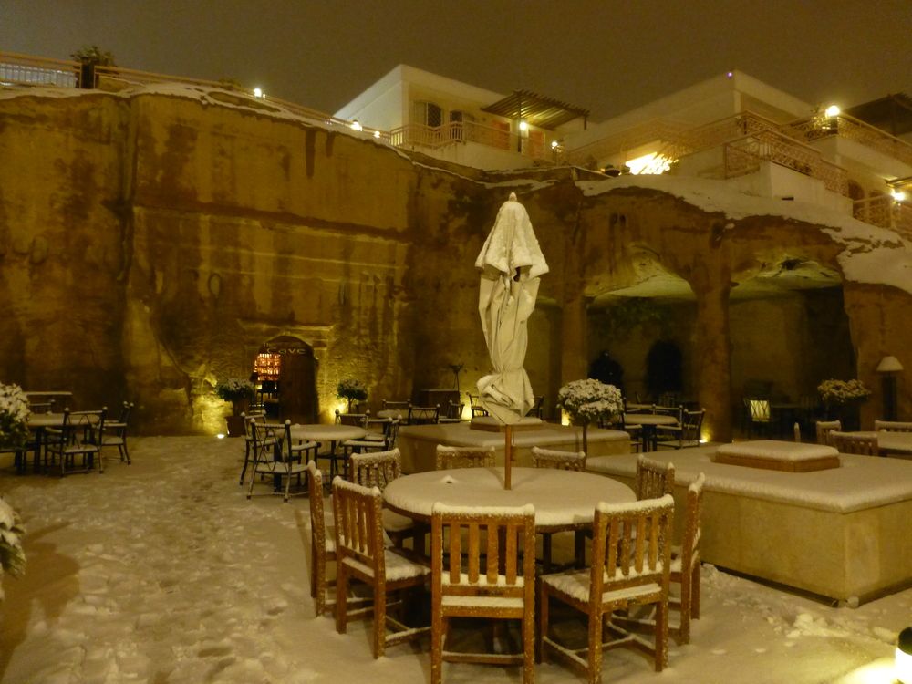 outdoor seating at our hotel entrance at petra