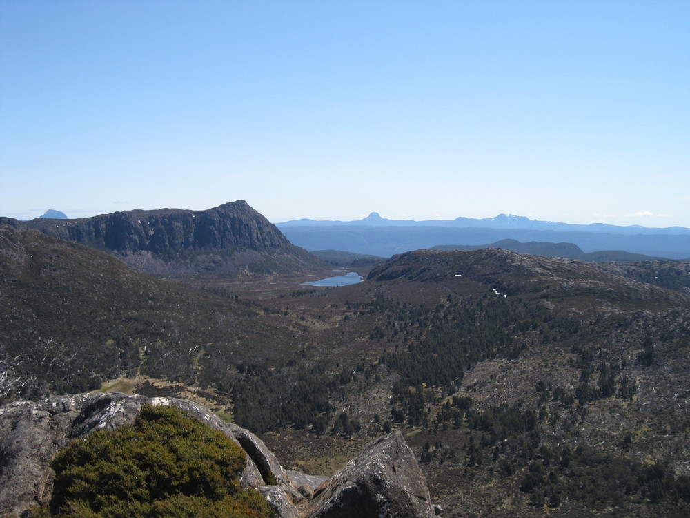 views from mount Jerusalem - cradle mountain and barn bluff in the distance