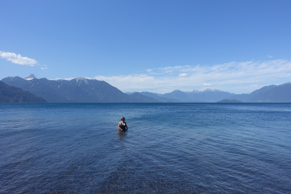 A dip in Lago Todos Los Santos.
