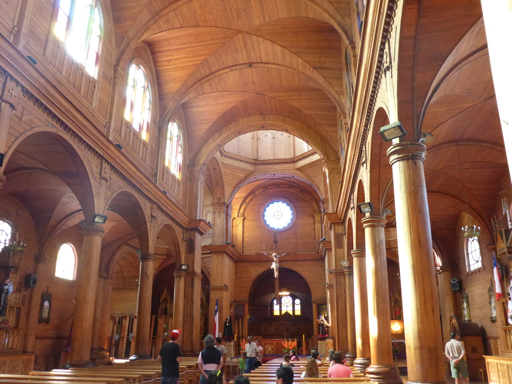 Wooden vaulted ceiling of Iglesia San Francisco de Castro.