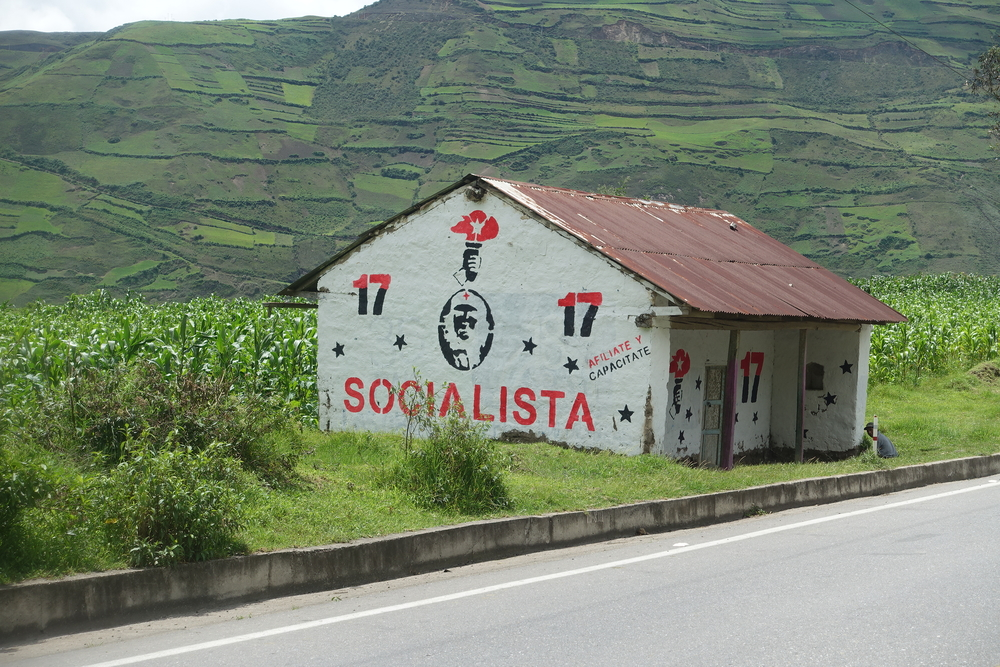 buildings painted with socialist banners and che are commonplace in the countryside.