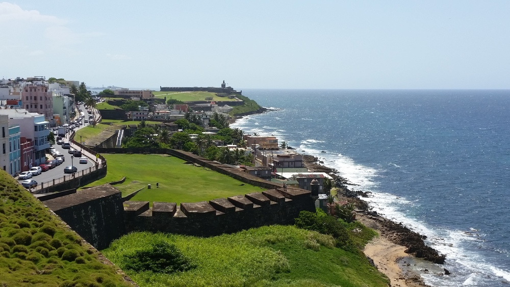 view of battlements and el morro from san cristobal