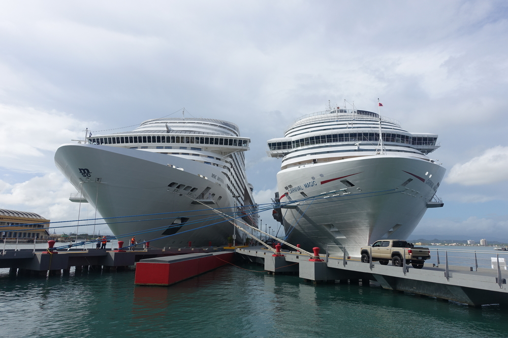 a couple of big-arsed cruise ships that were in that day
