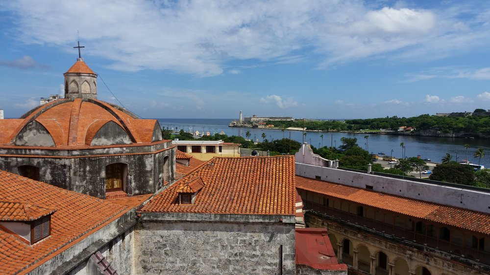 the view from the catedral bell tower towards the forts