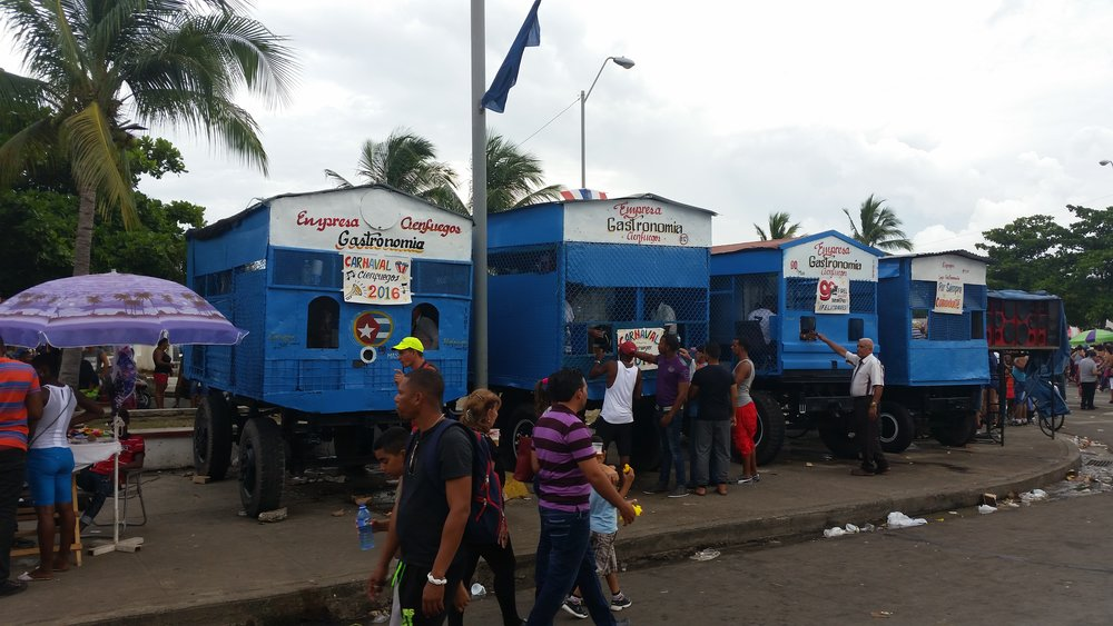 the beer wagons during fidel's 90th birthday celebrations