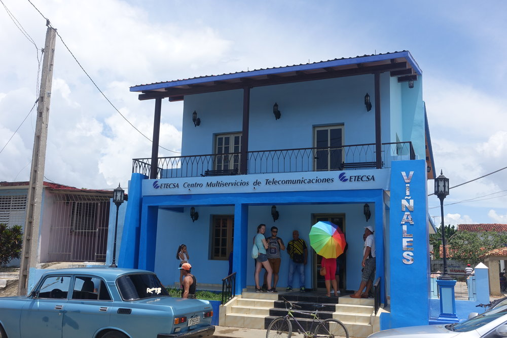 a small cuban queue at the etecsa office