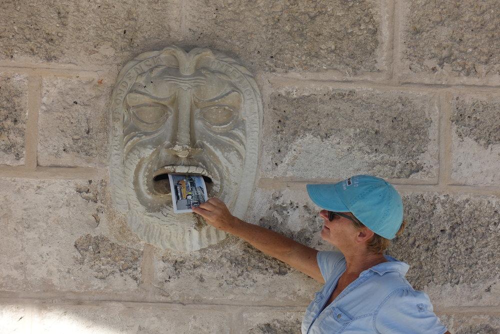 sending a postcard in Havana vieja