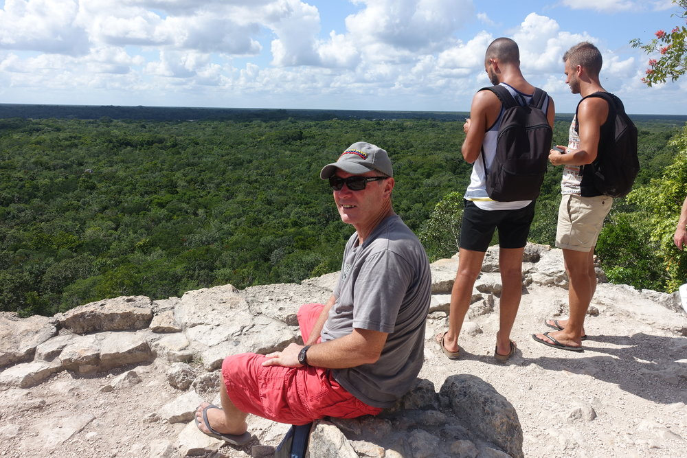 enjoying the view from coba's big mound.