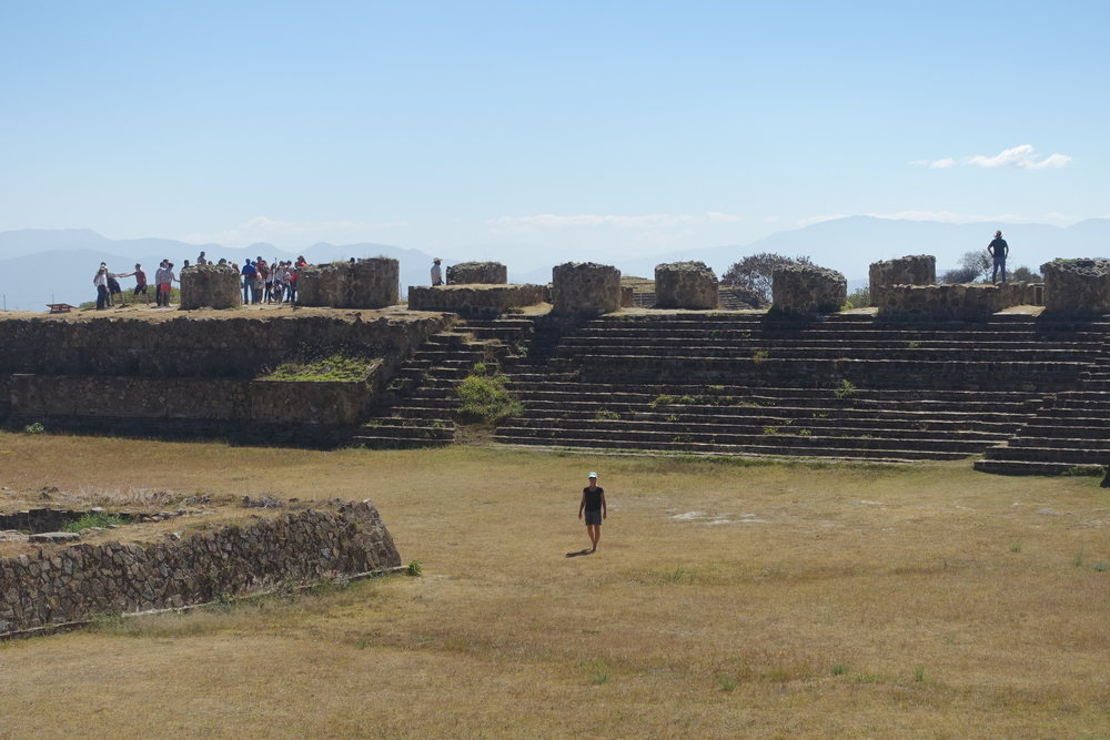 cal strolling through the sunken plaza, monte alban