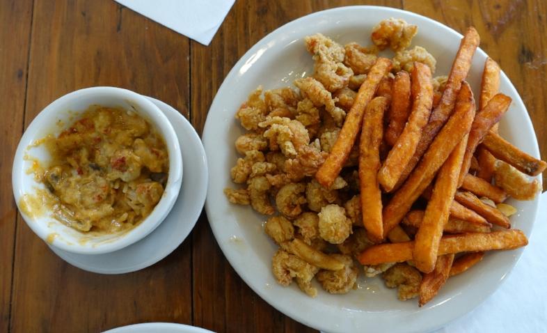shrimp etouffee (left) and crawfish with sweet potato fries