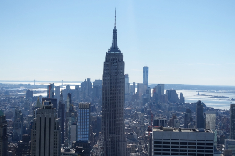 the empire state building dominates the view south